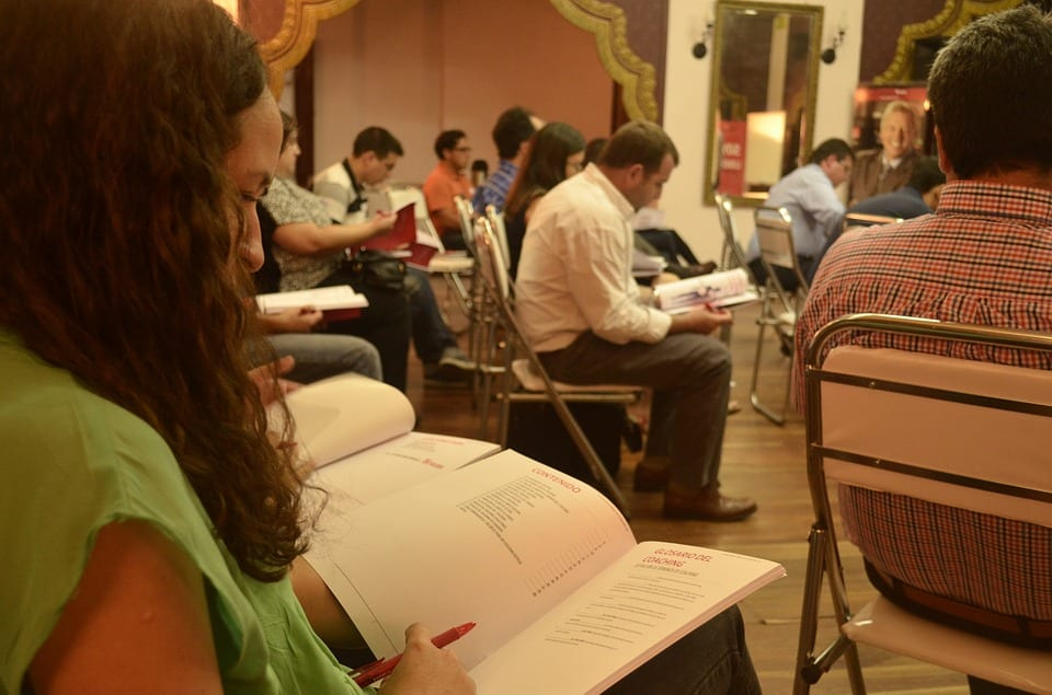 Studying at conference photo